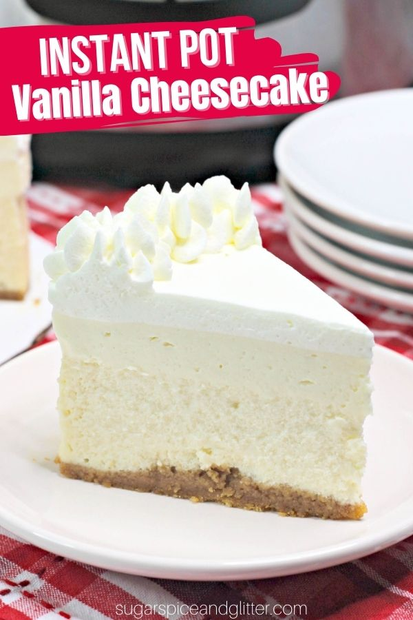 This Instant Pot Vanilla Cheesecake is the height of decadence, with four layers of deliciousness! This cheesecake tastes and looks gourmet enough to come from a bakery, but is super simple to make at home, no matter what your culinary skills are!