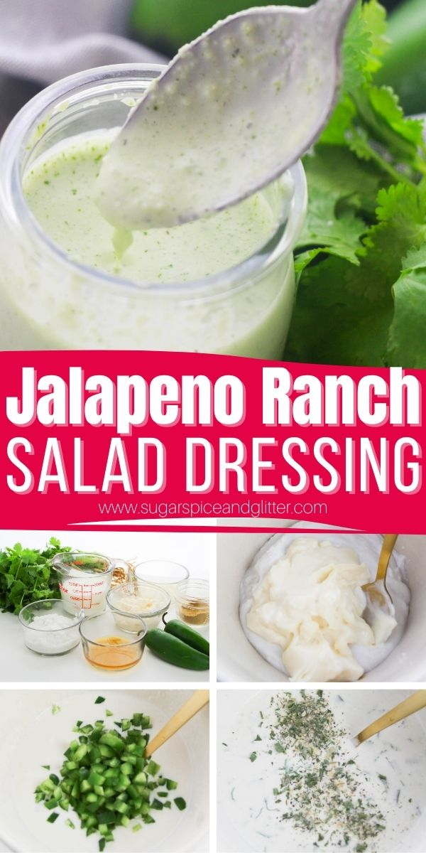 How to make a Jalapeno Ranch Salad Dressing that tastes better than anything you can get at the store - without all of the added sugars and sodium! This Jalapeno Ranch salad dressing adds zest and flavor with just the right amount of heat.