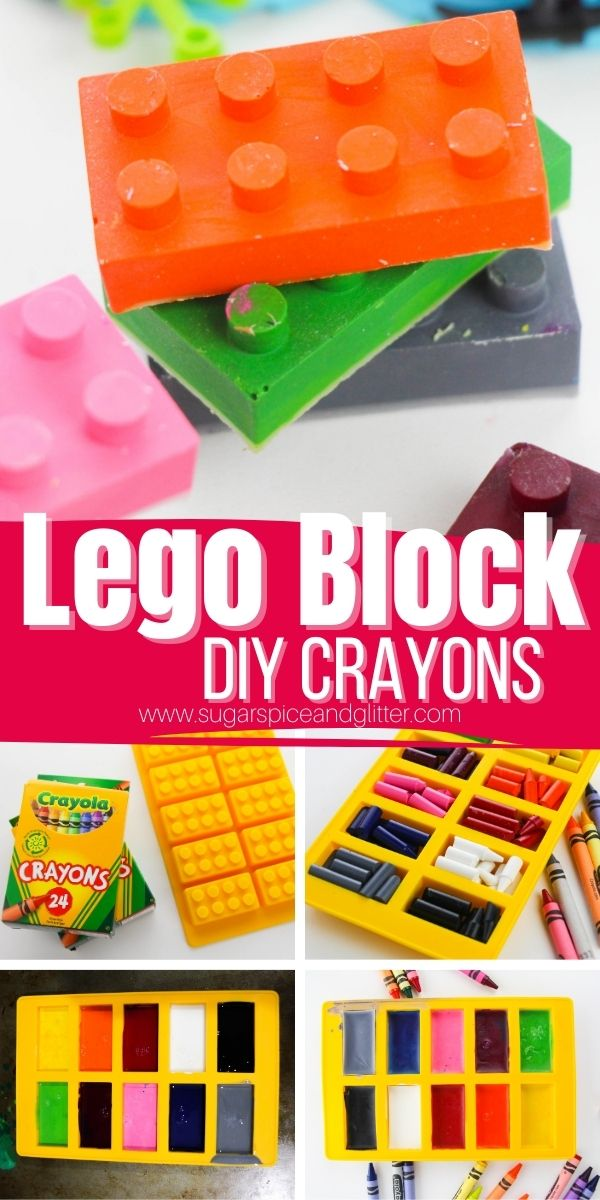 How to make lego block crayons, a fun way to get little Lego fans interested in drawing. These block crayons are tough and can hold up to even the most enthusiastic drawing sessions. Plus, they make a great goody gift for a Lego-themed birthday party