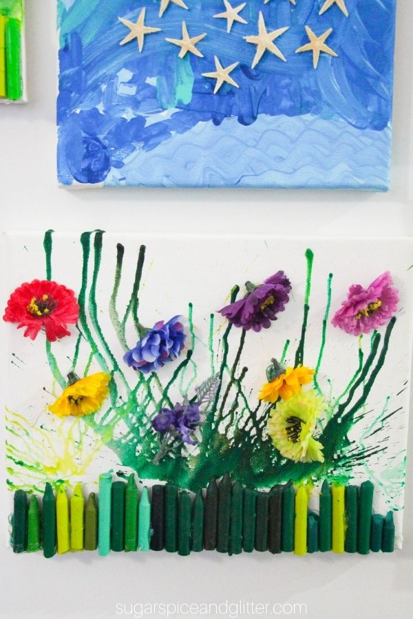 Flower Melted Crayon Art
