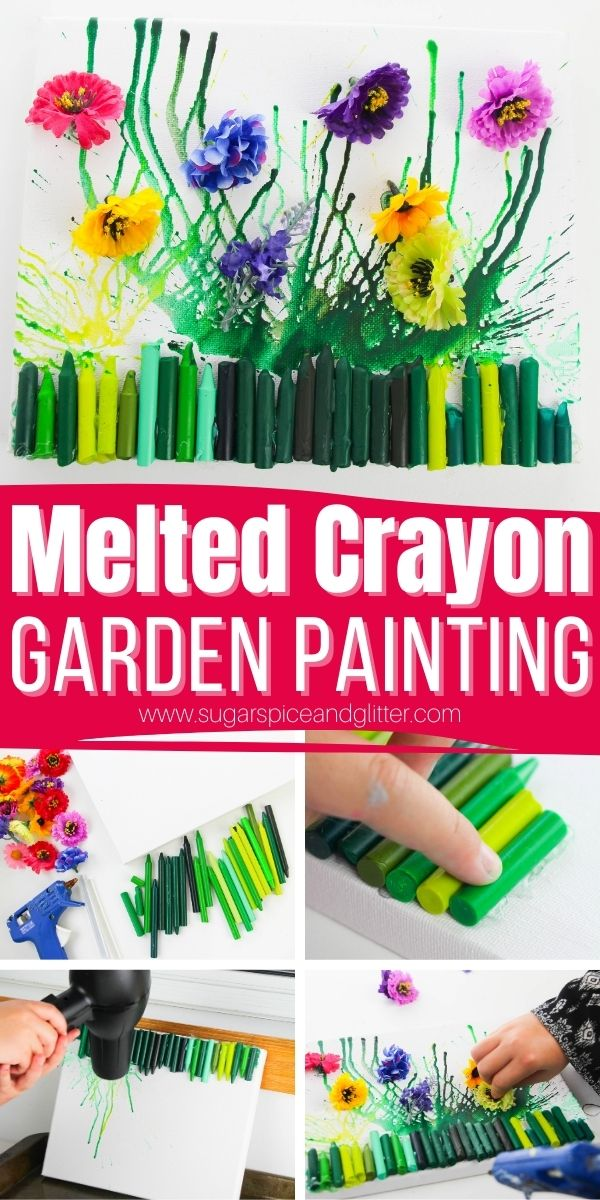 How to make a garden-themed melted crayon art piece - the perfect homemade gift for the gardener in your life. Kids will love getting to make and customize their own garden painting using different fake flowers.
