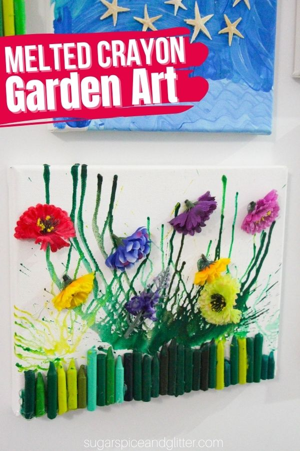 A fun melted crayon art project for kids, this Melted Crayon Garden is super simple to make with everyday craft supplies and makes a thoughtful gift for the gardener in your child's life.