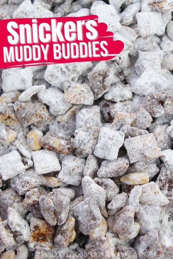 A sweet and salty party mix inspired by Snickers, this Snickers Muddy Buddy recipe is a fun no-bake dessert perfect for movie nights, parties or just to satisfy your sweet tooth without heating up the house.