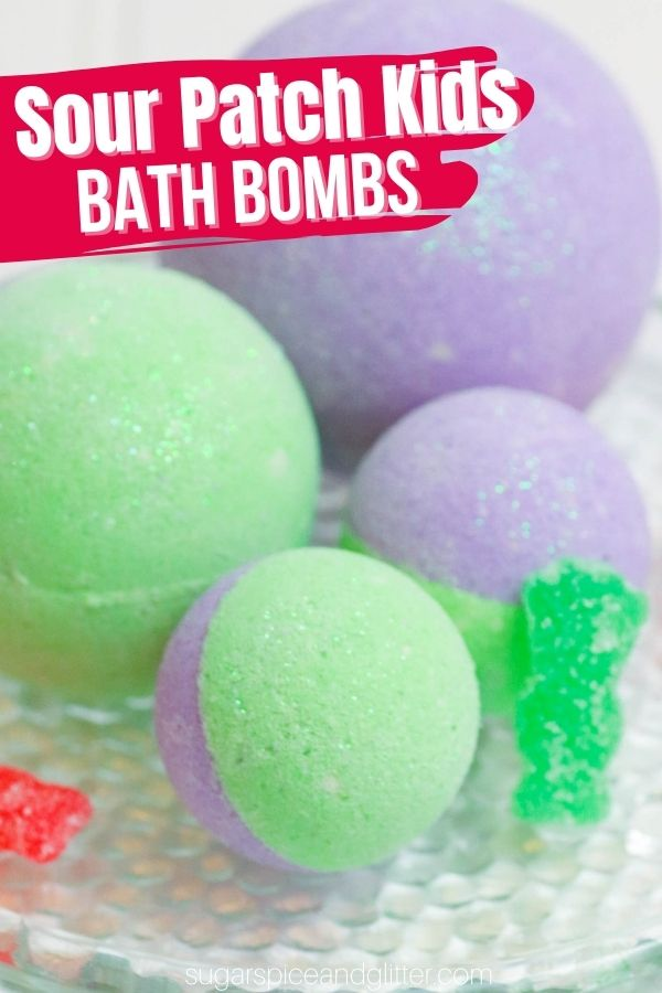 A delicious smelling, sparkly bath bomb that smells just like a Sour Kids candy when it's dissolved in the bath. These Sour Candy Bath Bombs are a great slumber party craft and make a fun gift for a sour candy lover.