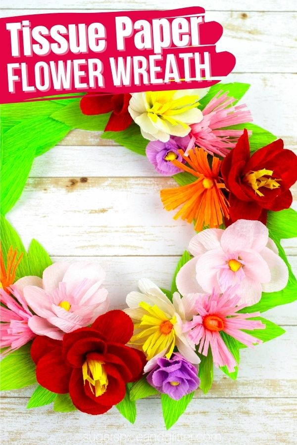 Grab your free printable template to make your own tissue paper flowers - to use on this tissue paper wreath or add to any craft you'd like! They'd look gorgeous on a picture frame, too