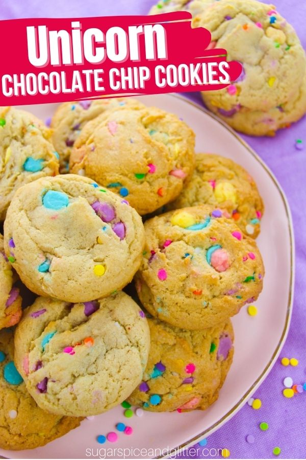 Colorful, melt-in-your-mouth, delicious unicorn chocolate chip cookies - the perfect afternoon baking project for kids, or a fun addition to a slumber party or unicorn birthday party.