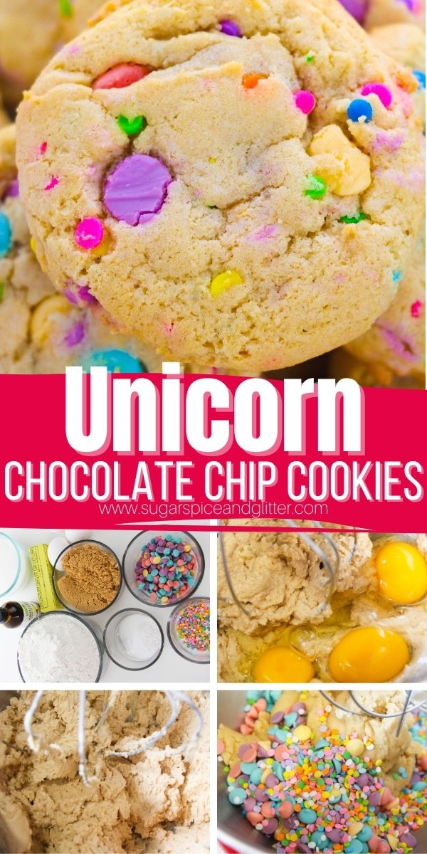 How to make colorful and fun unicorn chocolate chip cookies - the perfect treat for a unicorn-loving kid. These buttery, chewy chocolate chip cookies with slightly crispy edges and a balanced sweetness. The pastel-colored chocolate chips have a lightly sweet flavor that is similar to white chocolate while the colorful sprinkles add a bit of pleasant crunch.