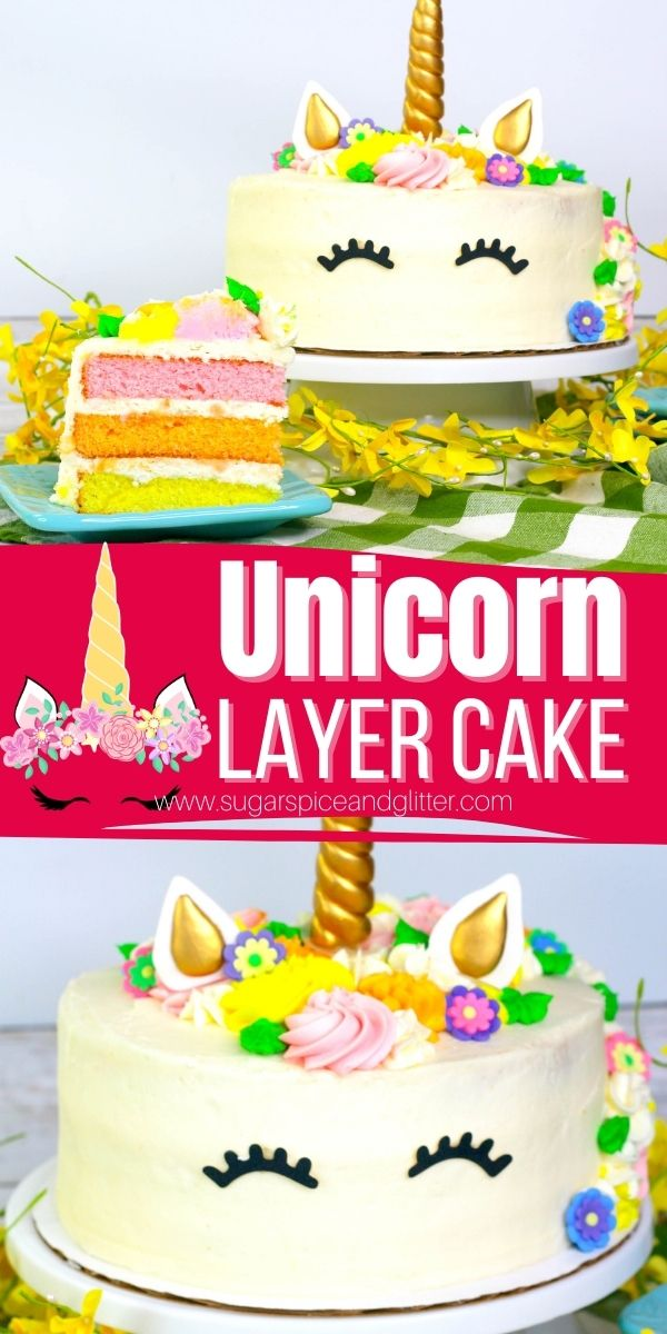 How to make a super simple unicorn layer cake that looks like it came straight from the bakery! This unicorn layer cake is perfect for a unicorn birthday party or just a special treat for your unicorn-loving kids