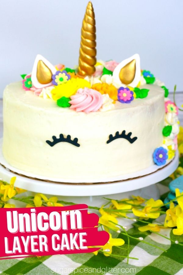A super simple and fun Unicorn Layer Cake that you can make at home! You won't believe how easy it is to make your own unicorn cake - perfect for birthdays or a special treat for your unicorn-loving kids
