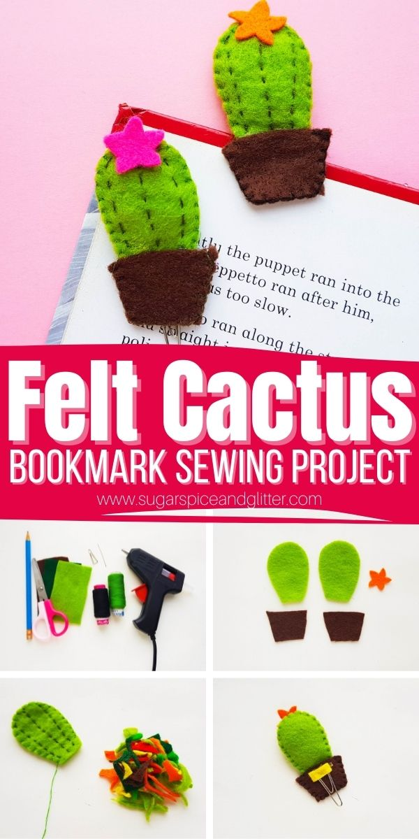 How to make a felt cactus bookmark (or a felt cactus pocket pal, hair clip, etc) - a simple sewing project for kids that they can actually use after making, or give as a cute homemade gift!