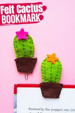 Cute Cactus Felt Bookmark DIY
