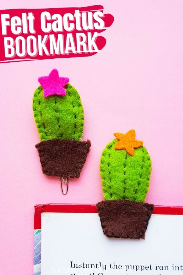 A quick and easy sewing project for kids, this DIY Felt Bookmark is a great way to practice their sewing skills and create something they can use everyday with pride!