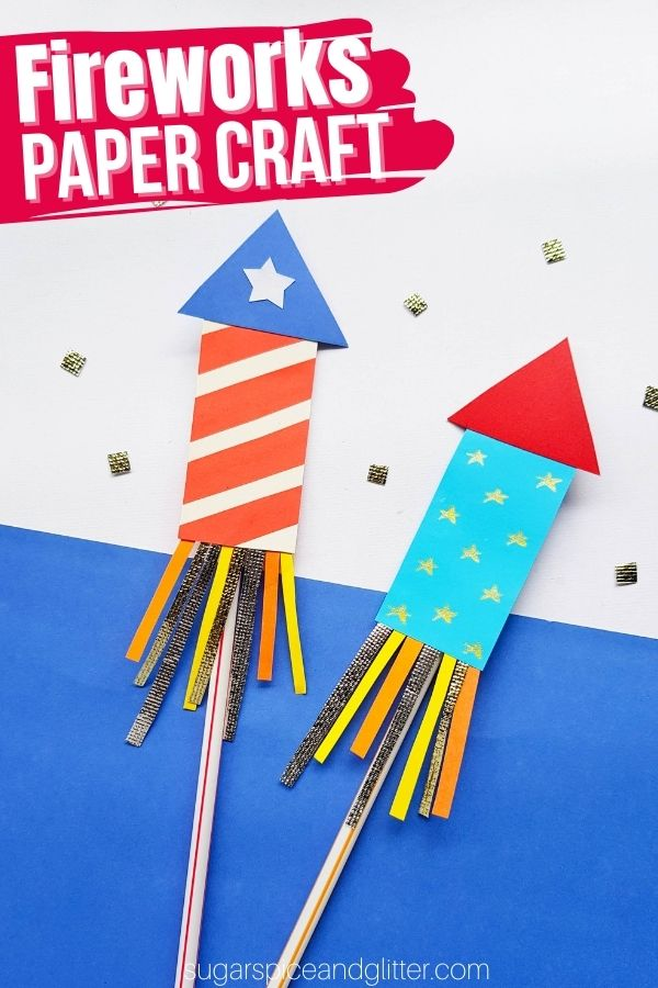 A quick and easy fireworks craft for kids using our free printable template, perfect for Memorial Day or 4th of July. You can either securely attach the straw to hold the rocket or use it to blast the firework off!