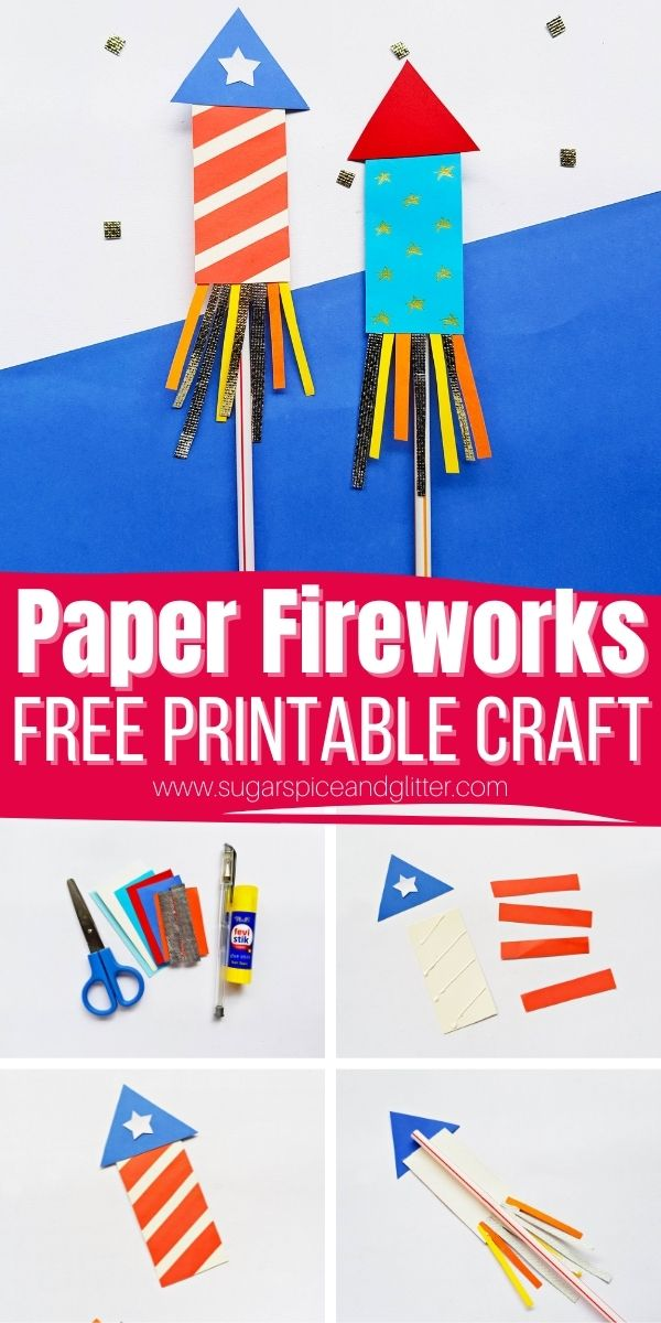 How to make a paper firework craft with kids, using our free printable firecracker template! Kids can whizz around the yard with their firework craft as they wait for the real show to begin. You can make these rockets stick to the straw or use the straw as a launcher!