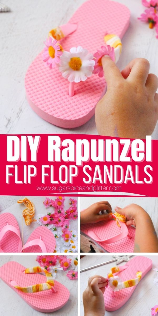 How to transform plain dollar store sandals into Disney-inspired princess sandals, a fun and budget-friendly way to update your kids' summer wardrobe without breaking the bank. This Rapunzel craft is also perfect for parties, sleepovers or family movie nights