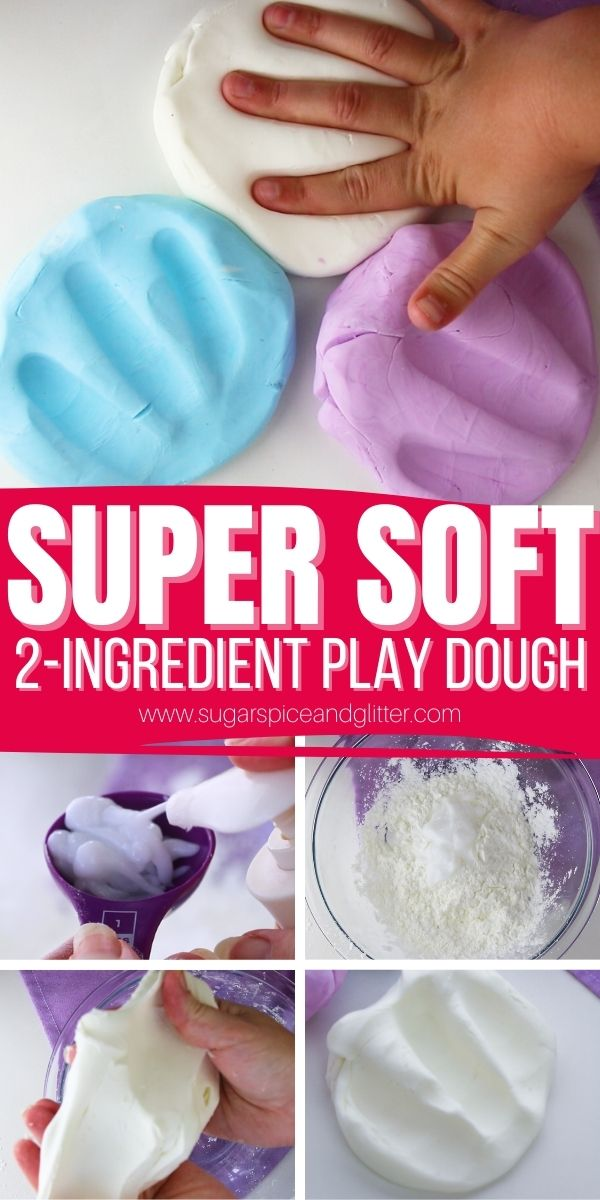 How to make super soft play dough with just two ingredients! This easy no-cook play dough recipe is perfect for keeping the kids busy and happy while you're making dinner since it takes less than 5 minutes to whip up.