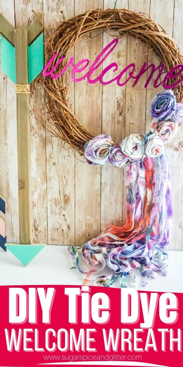 How to make a Tie Dye Welcome Wreath, with homemade tie dye fabric roses, a tie dye fabric fringe and Cricut Welcome Sign for a fun, boho touch to your front door. You can alternatively use old clothing to make the roses and fringe.
